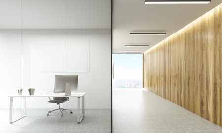 glass doors: Office room with blank whiteboard behind glass doors and hallway with wooden wall and New York city view. Mock up, 3D Rendering