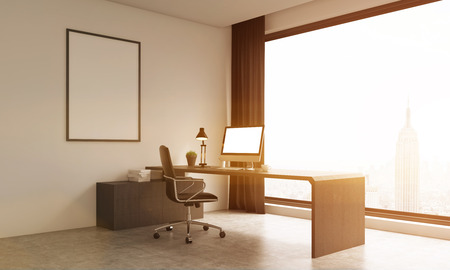 toned: Modern office room with stylish furniture and New York background. Computer on table. Large poster on wall. 3D render. Mock up. Toned image. Stock Photo