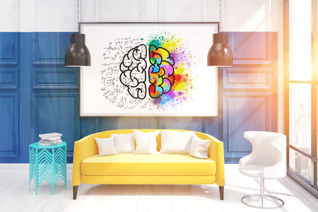 living room wall: Interior of living room with brain sketch above yellow sofa on blue wall. 3D render. Mock up. Toned image.