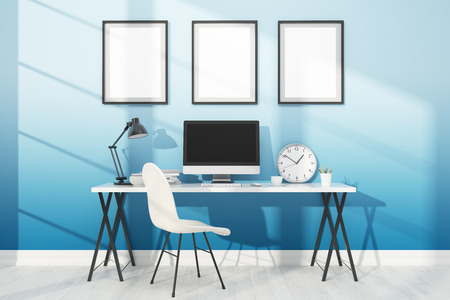 numerous: Comfortable workplace with computer and numerous posters on walls. Concept of work and study. 3D render. Mock up.