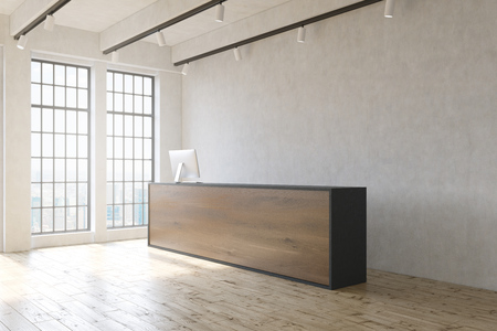 office window view: Office lobby with wooden floor, concrete wall, reception desk and window with city view. 3D Rendering