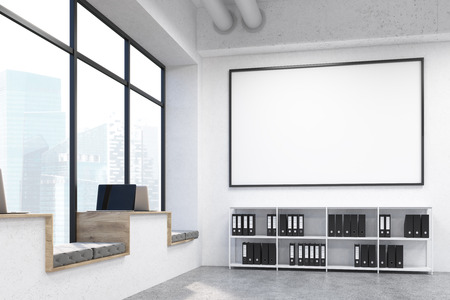 singapore city: Modern hipster windowsill workplaces in concrete interior with document cabinet, huge blank picture frame and window with Singapore city view. Mock up, 3D Rendering