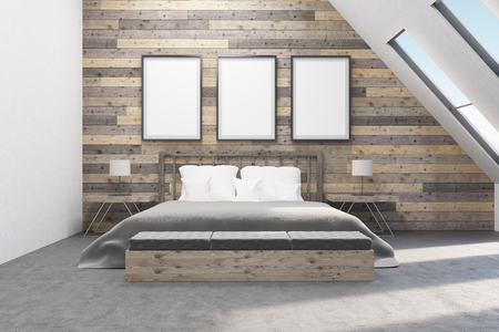 appartment: Bedroom with bedside tables. Wooden walls. Concept of comfortable appartment. 3D rendering. Mock up. Stock Photo