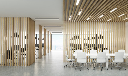 partitions: Open office interior with wooden partitions, New York city view and meeting area. 3D Rendering