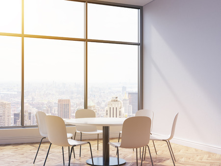 round chairs: Interior with concrete wall, wooden floor, round table, chairs and New York city view with sunlight. Conference room or dining area in cafe. 3D Rendering