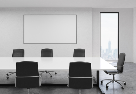Side view of concrete conference room interior with blank whiteboard, table, chairs and New York city view. Mock up, 3D Rendering