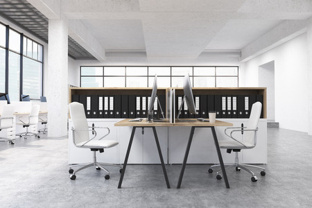 numerous: Coworking office interior with numerous workplaces, windows with city view and document folders on shelves. 3D Rendering Stock Photo
