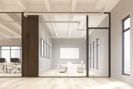 Office and conference room interior with blank whiteboard behind glass doors. Mock up, 3D Rendering