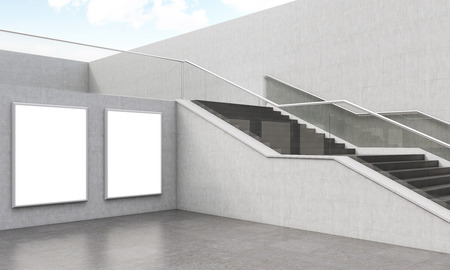 elegant staircase: Elegant staircase in modern building. Two posters on wall. Beautiul railing. 3D render. Mock up