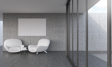 swiming: Modern living room with big poster on wall. Two comfortable sofas. Concept of appartment. 3D rendering. Mock up.