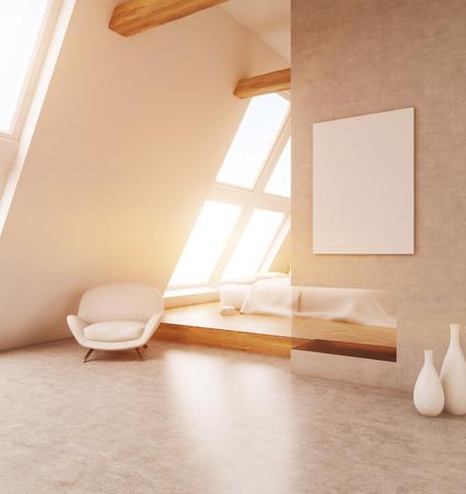 bedroom wall: Comfortable light bedroom in modern house. Poster on beige wall. Big windows. 3D render. Mock up. Toned image.