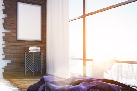 white pillow: Bright lit corner of room with coffee table and poster. Purple blanket and white pillow near large window. Concept of cozy home. 3d rendering. Mock up. Toned image Stock Photo