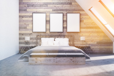 bedside tables: Comfortable bedroom with bedside tables. Wooden walls. Concept of appartment. 3D render. Toned. Mock up