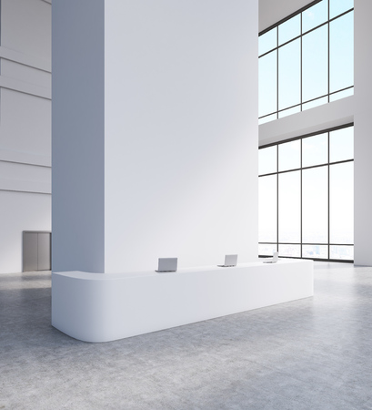 reception table: Large windows, steel door, long reception table with laptops on top of it. Concept of corporate business. 3d rendering. Mock up Stock Photo