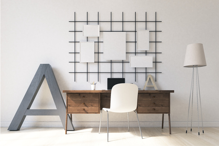 sala de estudio de luz con modernos equipos en casa con estilo banderas en la