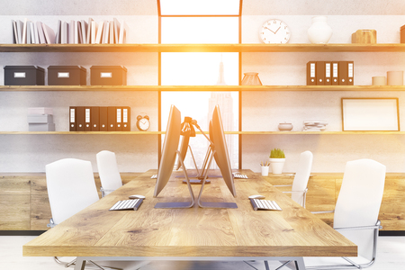 Contemporary office room in New York. White chairs by sides wooden desk, workstations on table. Boxes, books on shelves. Window. Sunny day. Concept of good working space. Toned image; 3d rendering