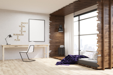 widow: Big city apartment with desk and chair. Bed near widow. Poster on wall. Big window. Concept of cozy apartment. 3d rendering. Mock up Stock Photo