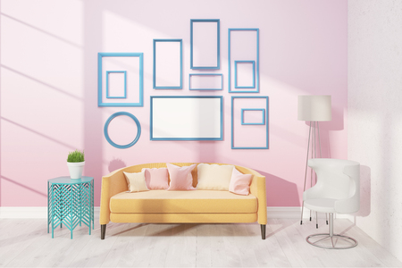 biege: Light living room with cosy sofa, white armchair and small table. Poster on pink wall. Concept of appartment. 3D render. Mock up.