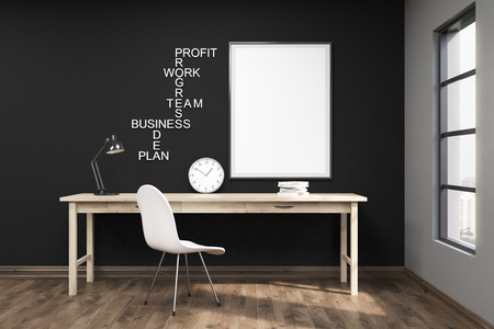 productive: Black wall. Large window. Poster and words on wall above wooden working table. Concept of productive work. 3d rendering. Mock up Stock Photo