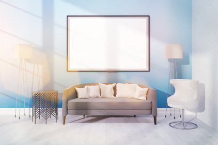 living room wall: Modern living room with various furniture and a large poster on light blue wall. 3D rendering, Toned image. Mock up