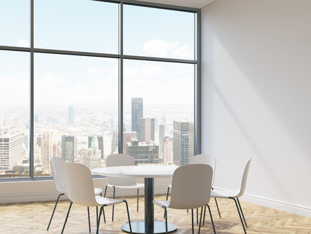 round chairs: Interior with concrete wall, wooden floor, round table, chairs and New York city view. Conference room or dining area in cafe. 3D Rendering