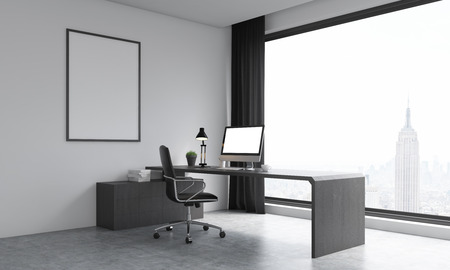 curtain up: Office room with modern furniture and New York background. Large poster on wall. Big window. City. Concept of work. 3D render. Mock up