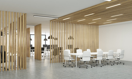 partitions: Side view of open office interior with wooden partitions, concrete floor and meeting area. 3D Rendering