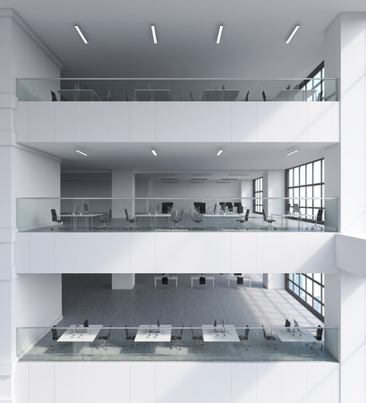 architectural styles: Office building interior with several floors. White tables, black armchairs, modern computers. Concept of big company. 3d rendering