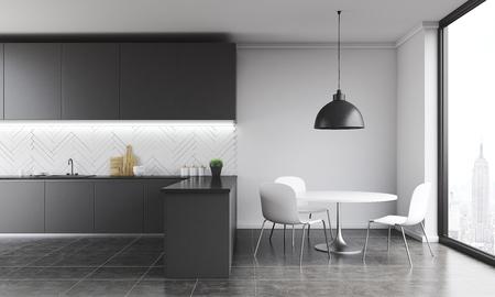 Cocina Moderna Con Mesa Y Superficies De Trabajo. Lámpara Grande En ...
