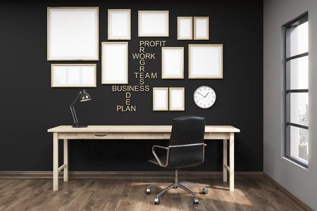 Meerdere posters in frames op de zwarte muur van kantoor aan huis. Houten vloer. Comfortabele schrijftafel. Grote fauteuil. Concept van doelbereiking. 3D-rendering. Mock up Stockfoto