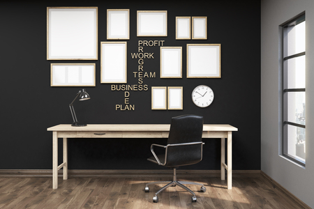 Multiple posters in frames on black wall of home office. Wooden floor. Comfortable writing table. Big armchair. Concept of goal achievement. 3d rendering. Mock up Stock Photo