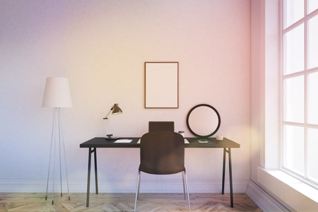 Comfortable Working Space At Home Office. Floor Lamp Near Table. Laptop,  Desk Lamp