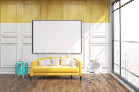 living room wall: Living room in New York. Yellow sofa in center. Big whiteboard on wooden wall. Large window looking at city. Concept of comfortable home. 3D rendering. Mock up.