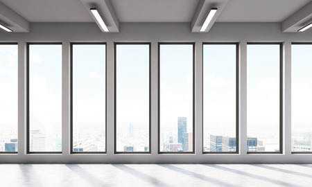 view window: Big room with large windows and beautiful view. Concept of simplicity. 3D render
