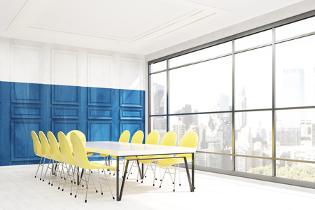 large office: Conference room in office in New York. Blue wooden wall, yellow chairs, white table and large window. Concept of business talk. 3d rendering.