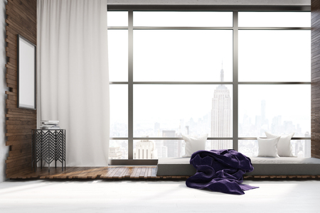 under the bed: Living room interior in New York city. Coffee table under large poster. White curtain on big window. Gray bed with pillows and blanket. Concept of rest at home.3d rendering. Mock up