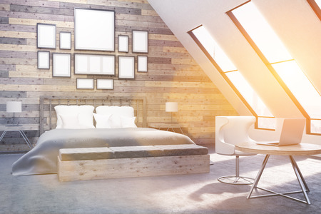 appartment: Bedroom with workplace. Wooden walls. Concept of appartment. 3D rendering. Toned. Mock up. Stock Photo