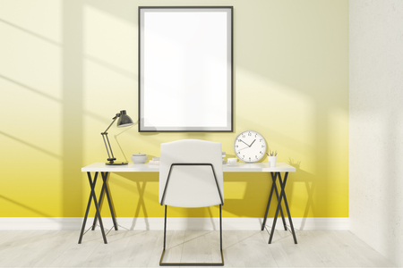 empty frame: Cosy study with big poster on yellow wall. Large table and chair. Concept of home. 3D render. Mock up.