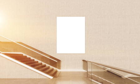 corporate building: Staircase in office lobby. Large poster on wall. Bright sun light. Concept of corporate building interior. 3d rendering. Mock up. Toned image Stock Photo