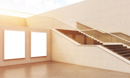 toned: Beautiful flight of stairs in modern building. Two large posters on wall. 3D render. Mock up. Toned image Stock Photo