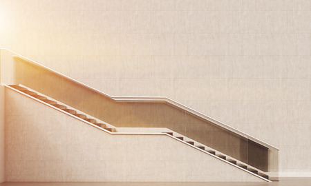 lit image: Long flight of stairs with stylish railing lit with sun. Concept of modern architecture and design. 3d rendering. Toned image. Stock Photo