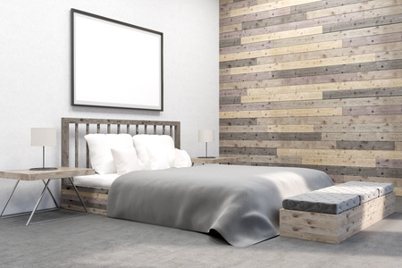 bedroom wall: Comfortable bedroom with poster on wall. Wooden wall. Concept of appartment. 3D render. Mock up. Stock Photo