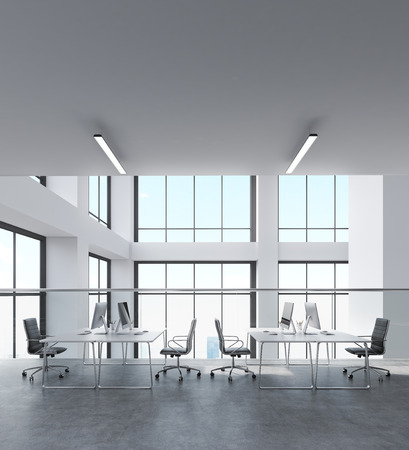 architectural styles: Office room in contemporary building. Black chairs, white desks. Workstations on tables. Concept of big corporate business. 3d rendering