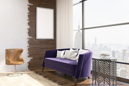 accommodation: Living room interior in modern New York city. Purple sofa with pillows in center. Vertical poster on wall. Large window. Original armchair. Concept of comfortable accommodation. 3d rendering. Mock up