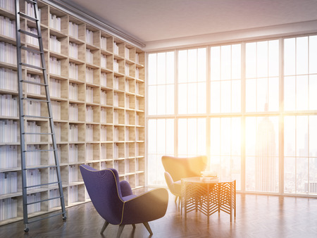 sunlit: House library in New York city apartment. Bookshelves along one of walls. Two armchairs. Coffee table. Large window. 3d rendering. Toned image Stock Photo