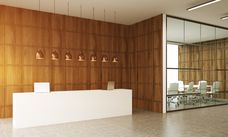 reception table: Conference room interior with reception table in big city office. Concept of business meeting conduction. 3d rendering. Toned image.