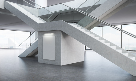 concrete stairs: Office interior. Two stairs crossed in shape of letter x. Poster on concrete wall under them. Concept of difficult route to success. 3d rendering. Mock up.