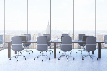 panoramic business: Conference room with panoramic window in contemporary New York City. Laptops on desks. Armchairs around table. Everything ready for board meeting. Concept of effective business process. 3d rendering.