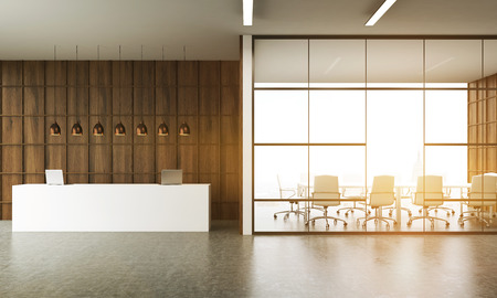 business reception: Office interior. Reception desk and meeting room in New York. Concrete floor. Large table. Wooden walls. Concept of business meeting. 3d rendering. Toned image. Stock Photo
