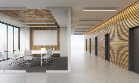 talk big: Meeting room interior in contemporary office in big city. Lots of doors in corridor, glass wall, whiteboard. Concept of business talk. 3d rendering. Mock up Stock Photo